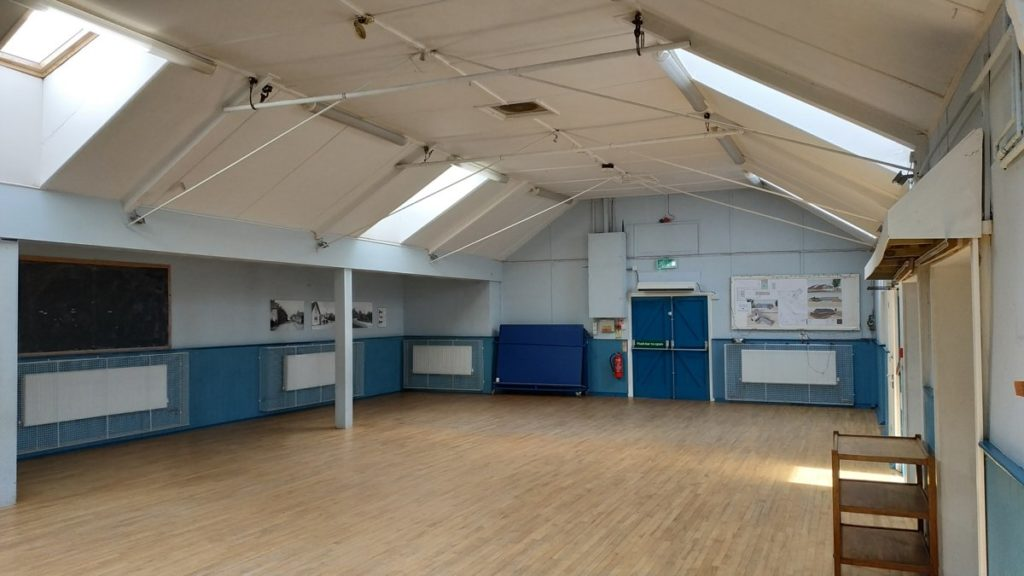 Interior of Harby Village Hall in Leicestershire - photo taken from its NW corner