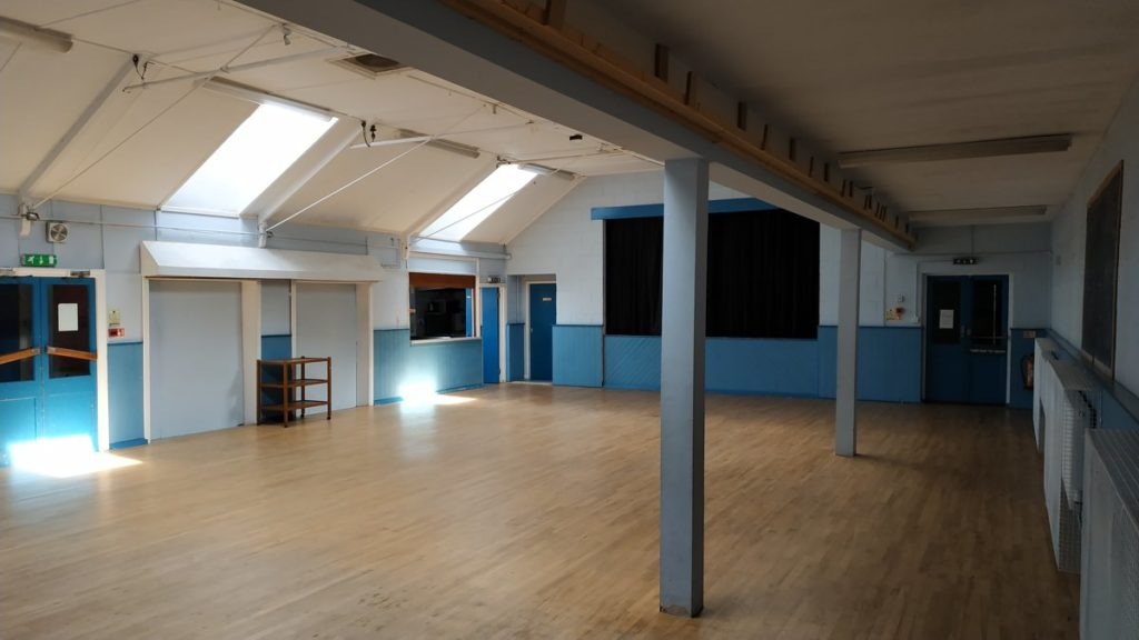 Interior of Harby Village Hall in Leicestershire - photo taken from its SE corner