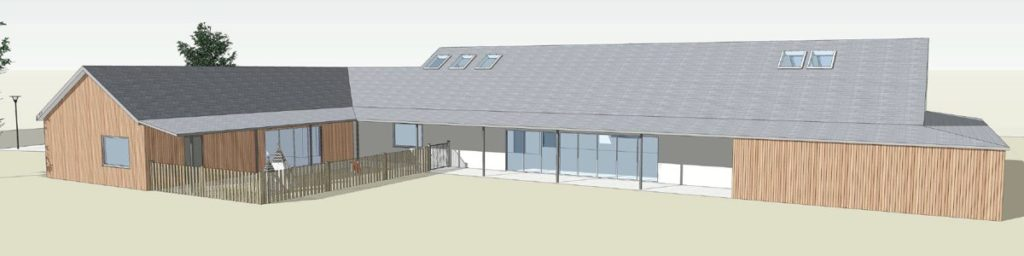 Architect's illustration of the new village hall design - view from the east