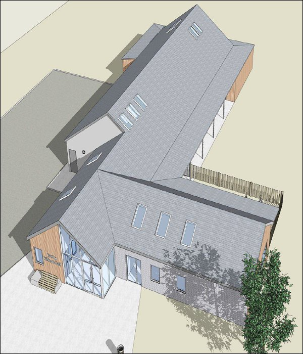 Architect's illustration of the new village hall design - view from the south